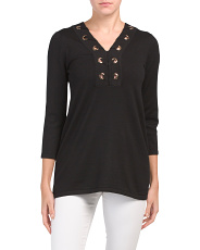 Grommet Lace Up Tunic