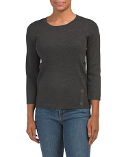 Pullover Sweater With Front Asymmetric Trim