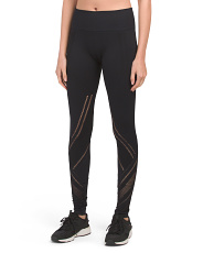 Made In Usa High Waist Jacquard And Mesh Quintessential Leggings