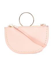 Made In Italy Leather Crossbody With Ring Detail
