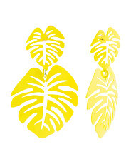 Enamel Palm Leaf Earrings