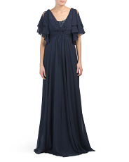Chiffon Cocoon Gown With Sequin Underlay