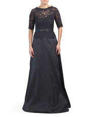 Lace Sleeve With Taffeta Skirt Gown