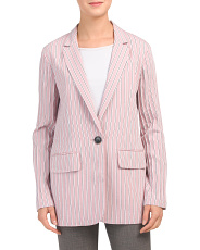 Striped Twill Oversized Blazer