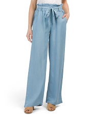Juniors Paper Bag Waist Wide Leg Pants