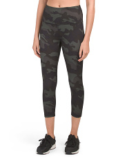 High Waist Peached Camo Capris