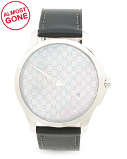 Swiss Made Diamond Marker Leather Strap Watch
