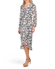 Juniors Floral Wrap Long Sleeve Midi Dress