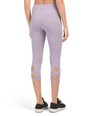 High Waist Lattice Back Capri Leggings
