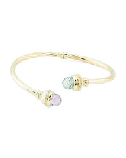 Made In Italy 14k Gold Gemstone Open Cuff Bracelet