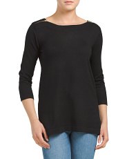 Boat Neck Tunic Top With Zipper Details