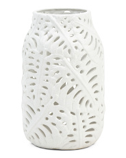 Palm Cutout Ceramic Vase