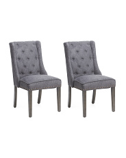 Set Of 2 Upholstered Wing Dining Chairs