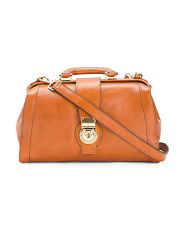 Made In Italy Leather Doctor Satchel With Top Handle