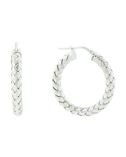Made In Italy Sterling Silver Braided 20mm Hoop Earrings