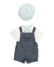 Baby Boys 3pc Chambray Romper Set