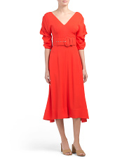 Gathered Sleeve Midi Dress