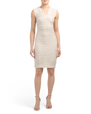 Dune Inlay Knit Dress With Georgette Trim
