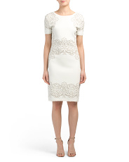Laurel Jacquard V Back Short Sleeve Dress