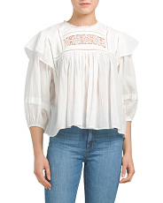 Laura Embroidered Detail Gauze Top