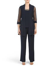 2pc Beaded Neck Pant Suit