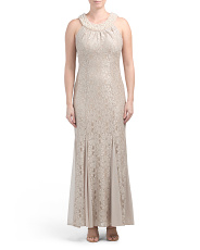 Long Lace Pearl Neck Dress