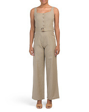 Juniors Flax Jumpsuit With Buttons