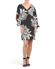 Fondness Tie Sleeve Floral Printed Dress