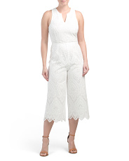 Flame Embroidered Eyelet Jumpsuit