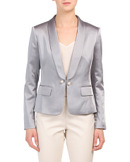 Pearl Roll Collar Satin Jacket