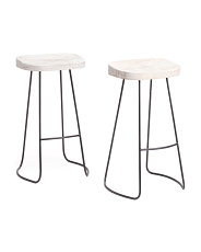 Set Of 2 Mango Wood Boston Barstools