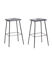 Set Of 2 Faux Leather Barstools