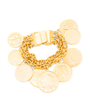Made In Usa 24k Gold Plated Coin Multi-chain Bracelet