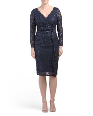 Long Sleeve Side Ruched Lace Dress