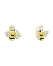 14k Gold Plated Sterling Silver Cz Bee Honeycomb Earrings
