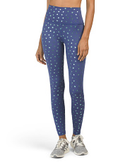 High Waist Star Foil Print Ankle Leggings