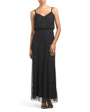 Petite All Over Beaded Gown