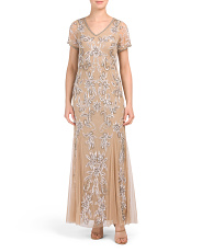 Short Sleeve V-neck Beaded Gown