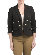 Shirred Sleeve Flap Pocket Jacket