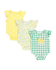 Baby Girls 3pc Lemon Bodysuit Set