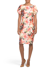 Criss Cross Sleeve Floral Dress