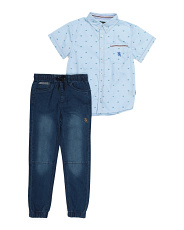 Big Boy Woven Shirt And Pant Set