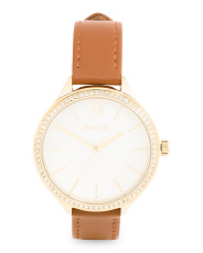Women's Suitor Crystal Bezel Leather Strap Watch