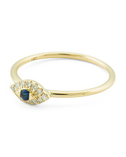 14k Gold Diamond And Sapphire Evil Eye Ring