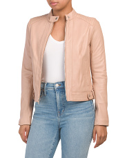 Petite Collarless Moto Leather Jacket