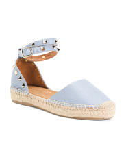 Made In Spain Studded Leather Flat Espadrilles