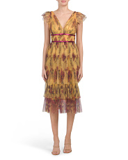 Flutter Sleeve Pleated Printed Cocktail Dress