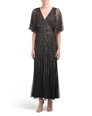 Petite Sequin V-neck Gown With Flutter Sleeves
