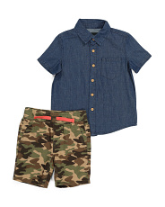 Toddler Boys Camo Shorts And Top Set