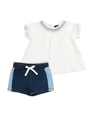 Toddler Girls Eyelet Top & Short Set